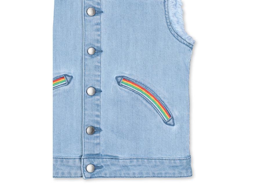 Denim Gilet With  Rainbow Embro Heavy Blue