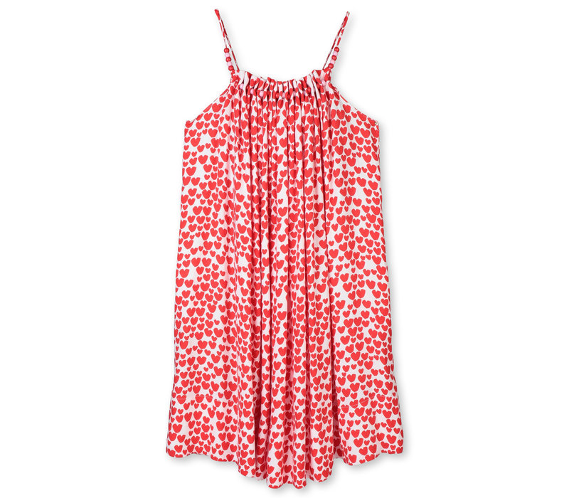 Hearts Viscose Dress White/ Red