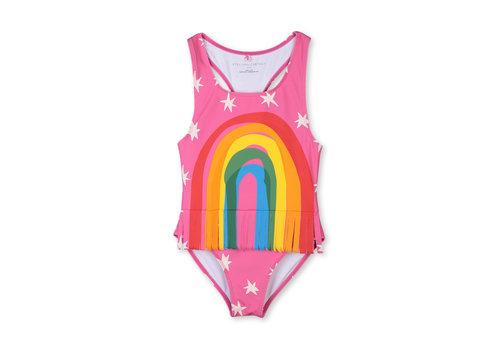 Stella McCartney Kids Swimcostume With  Rainbow Fringes Sugar Pink