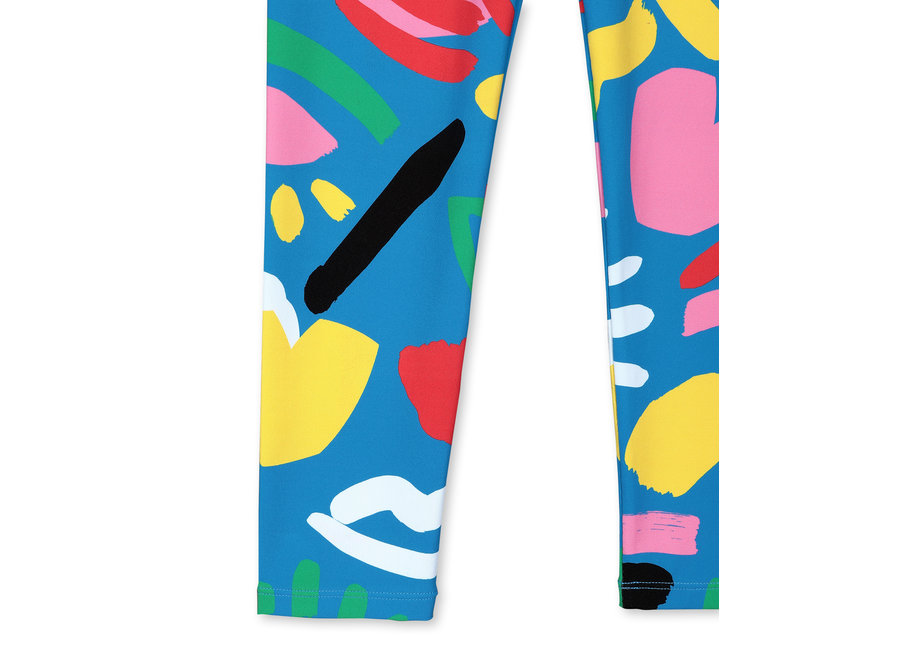 Graphic Face Blue Leggings Baby Blue/Pink