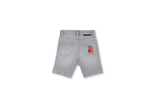 Stella McCartney Kids Denim Shorts With  Badge Grey Denim