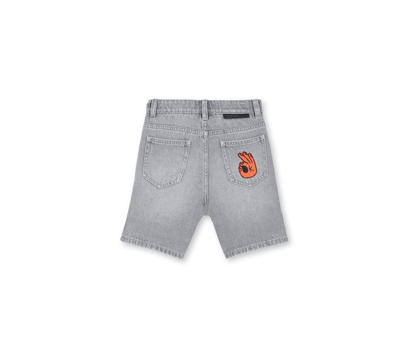 Denim Shorts With  Badge Grey Denim