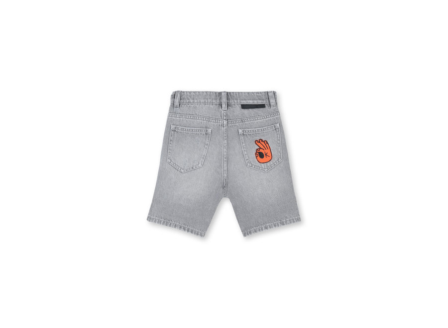 Denim Shorts With  Badge Grey Denim