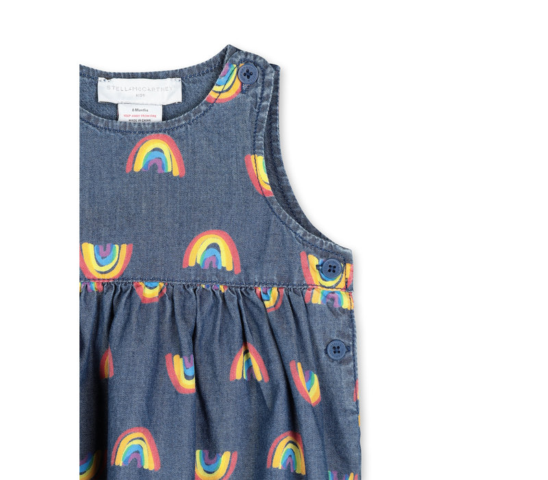 Rainbow Chambray Dress Blue Sky/Yellow