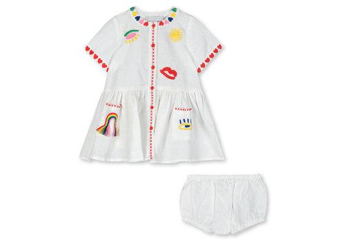 Stella McCartney Kids Linen Dress With  Hearts Embro Cloud