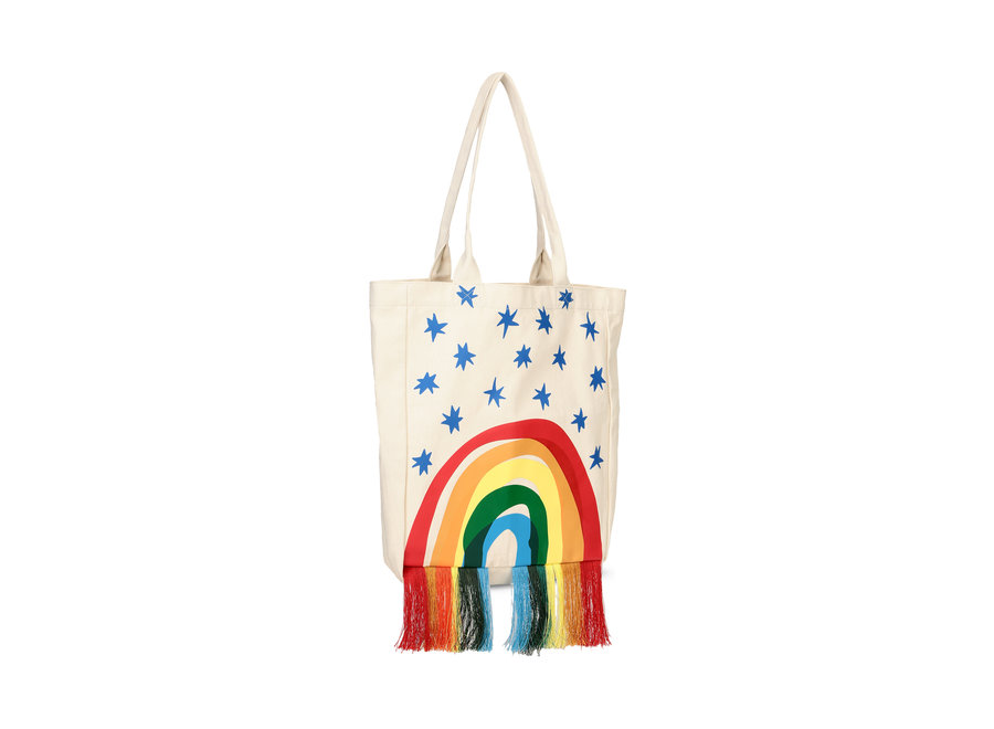 Cotton Tote Bag With  Rainbow Cloud
