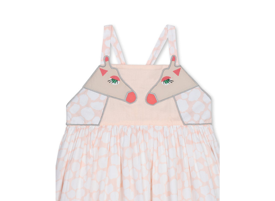 Giraffe Spots Cotton Dress Cameo Rose