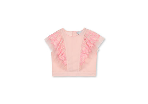 Stella McCartney Kids Cotton Top With  Stars Embro Peonie
