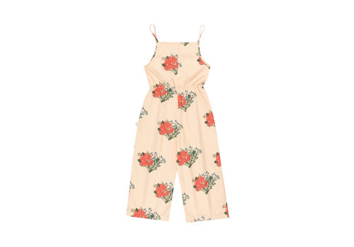Tiny Cottons Flowers Jumpsuit Cappuccino/Red