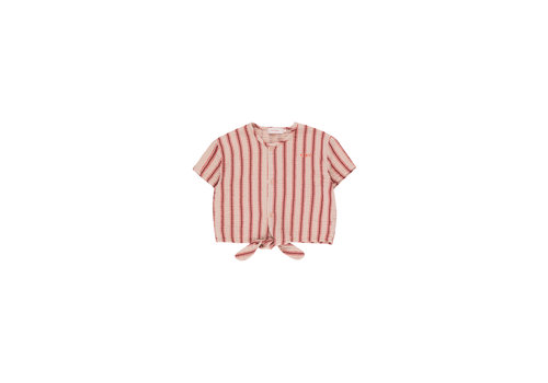 Tiny Cottons Retro Stripes Tie Front Top Light Nude/Dark Brown