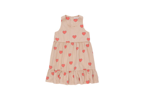 Tiny Cottons Hearts Dress Light Nude/Red