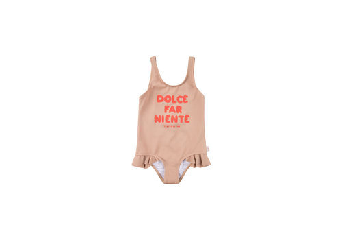 Tiny Cottons Dolce Far Niente Frills Swimsuit Light Nude/Red