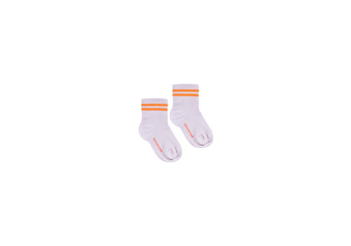 Tiny Cottons Stripes Quarter Socks Light Lilac/Brick