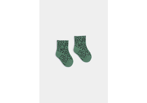 BOBO CHOSES All Over Leopard Short Socks Cadmium Green