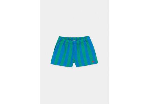 BOBO CHOSES Striped Woven Shorts Azure Blue