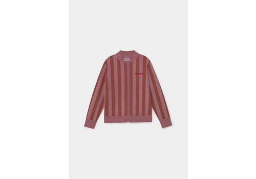 BOBO CHOSES Bobo Stripped Zipped Sweatshirt Heather Rose