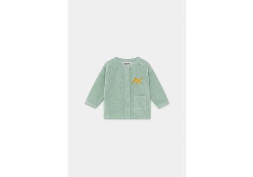 BOBO CHOSES Leopard Buttoned terry Sweatshirt Frosty Green