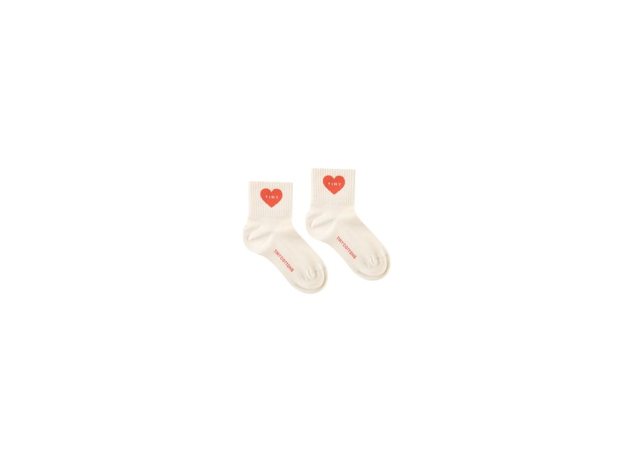 Heart Quarter Socks Light Cream/Red