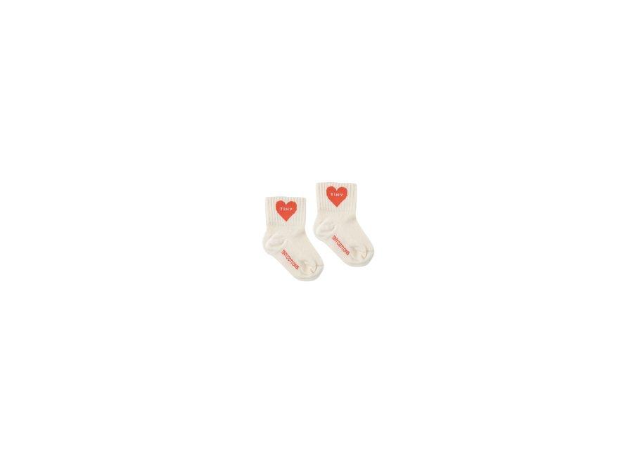Heart Quarter Socks Light Cream/Red