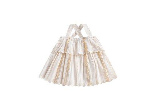 Louise Misha Top Riha White & Gold Stripes
