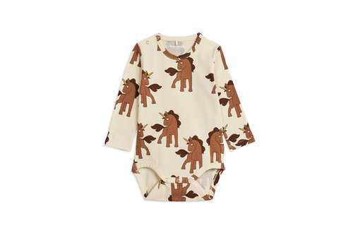 Mini Rodini Unicorns aop ls body Offwhite