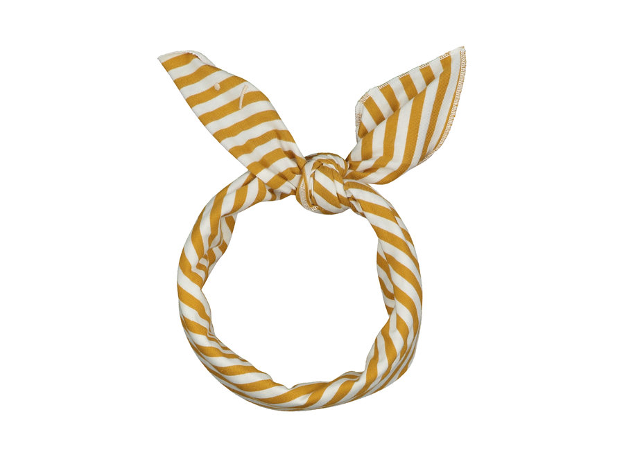 Head Scarf  Mustard/Off White Stripe