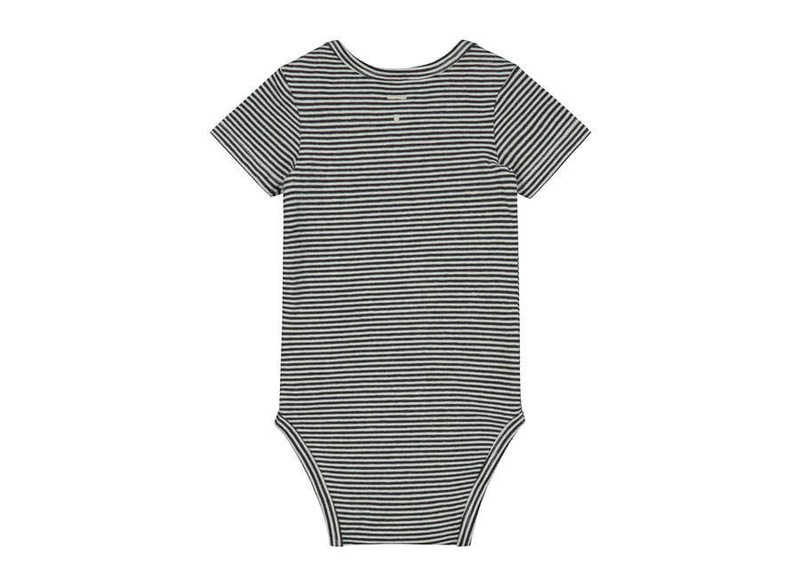 Baby Onesie   Nearly Black/Cream Stripe