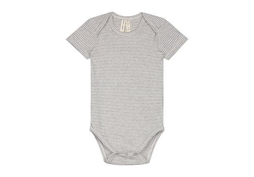 Gray Label Baby Onesie   Grey Melange/Cream Stripe