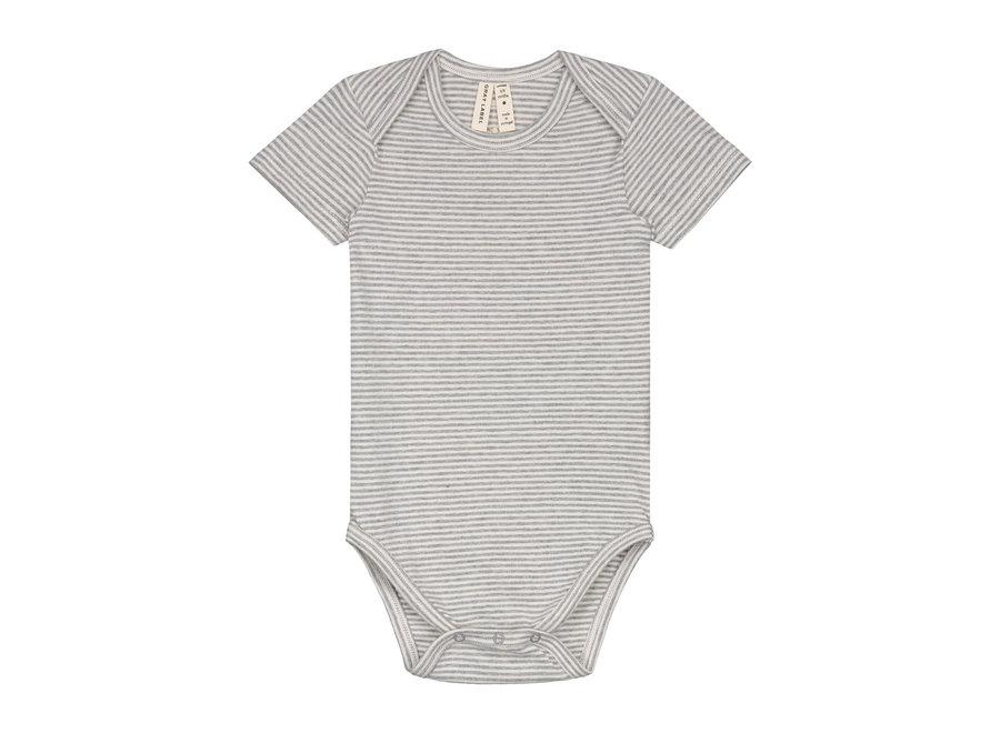 Baby Onesie   Grey Melange/Cream Stripe