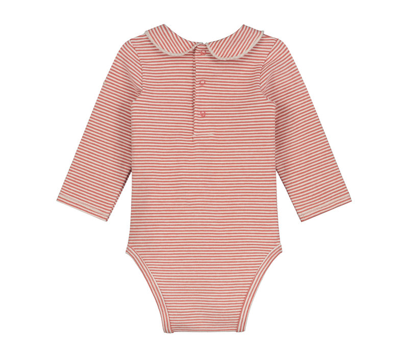 Baby Collar Onesie  Faded Red/Cream Stripe