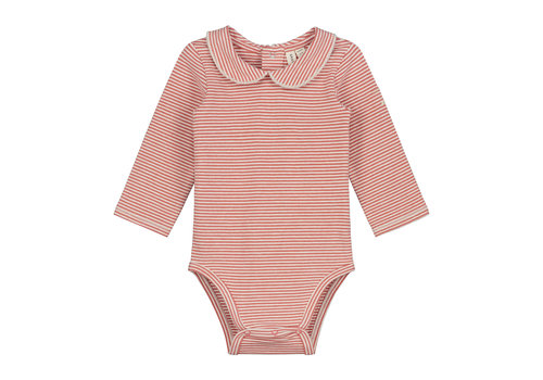 Gray Label Baby Collar Onesie  Faded Red/Cream Stripe