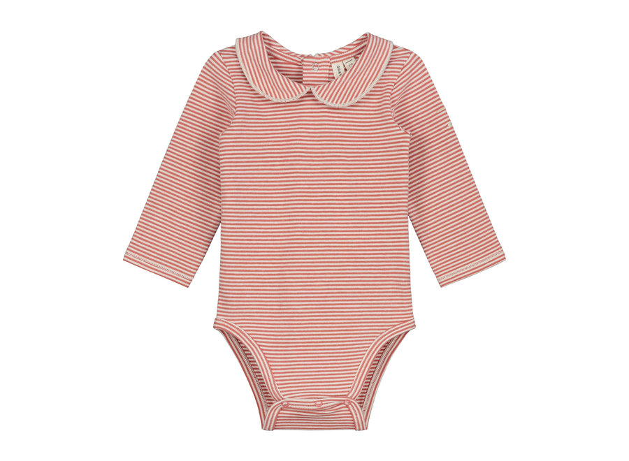 Baby Collar Onesie  Faded Red/Cream Stripe