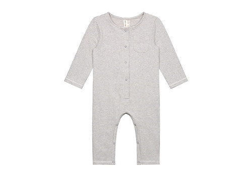Gray Label Baby L/S Playsuit  Grey Melange/Cream Stripe