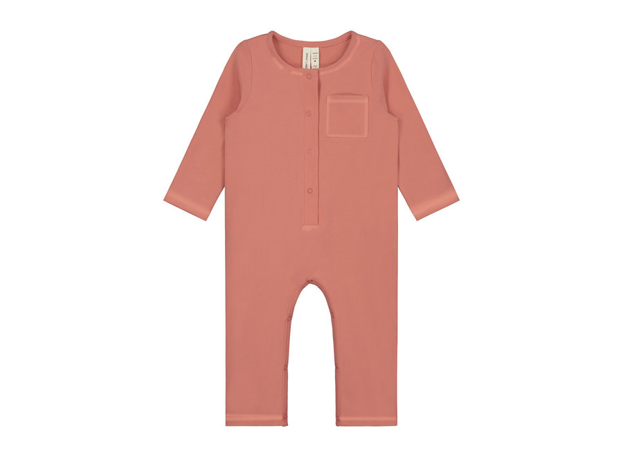 Baby L/S Playsuit  Faded Red