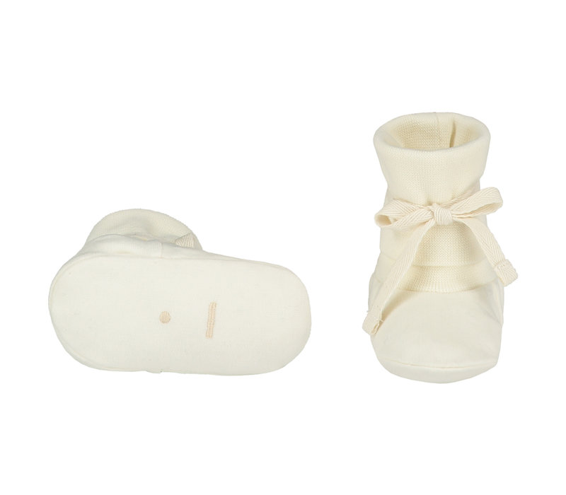 Baby Ribbed Booties  Cream