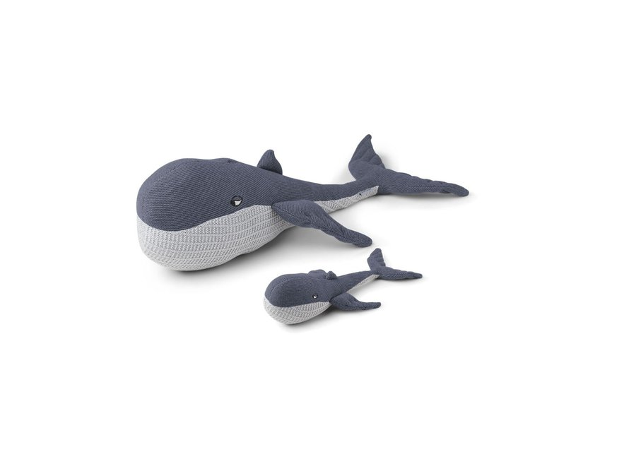 Doby teddy with baby Whale blue wave