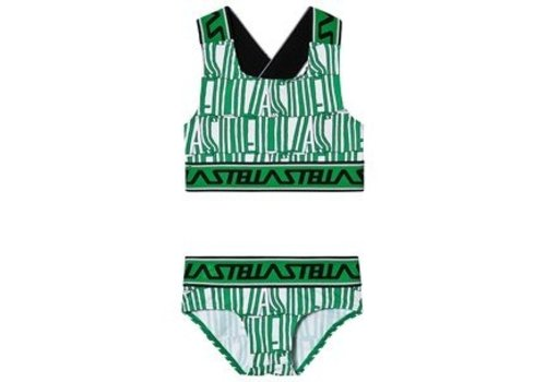 Stella McCartney Kids Green Stella Type Swim Bikini White/ Green