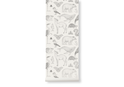 Ferm Living Katie Scott Wallpaper - Animals Off-White