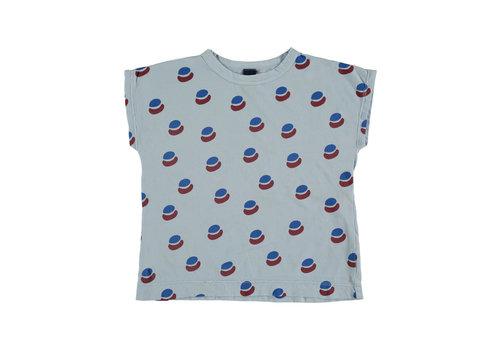 Bonmot organic T-shirt summer paint all over light blue