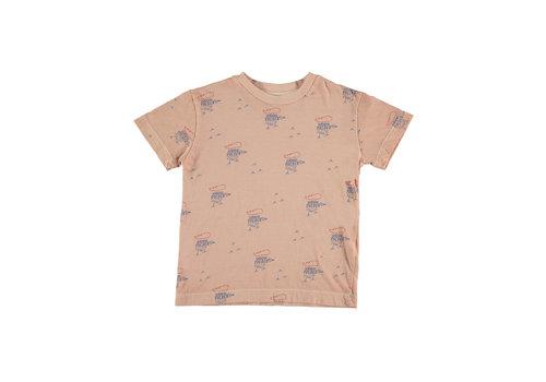 Bonmot organic T-shirt classic small woodpekers Dusty coral