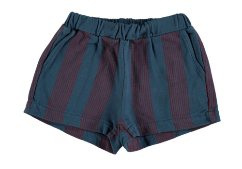 Bonmot organic Short fleece multi stripes navy