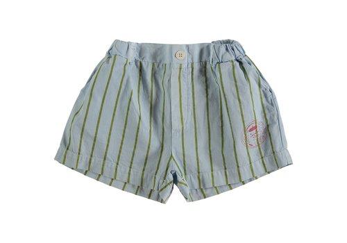 Bonmot organic Short button thin stripes light blue