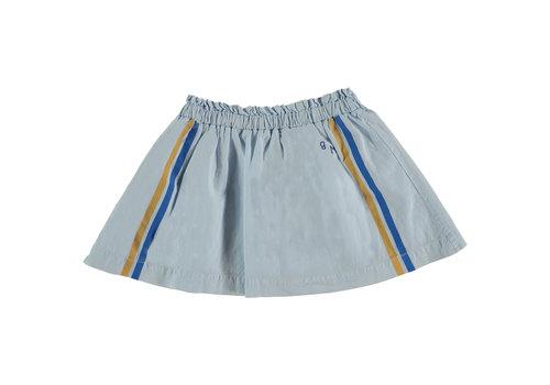 Bonmot organic Mini skirt ruffle brushstroke light blue