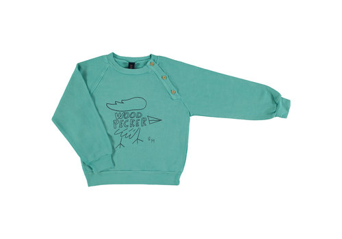 Bonmot organic Sweatshirt sailor big woodpeker Turquoise