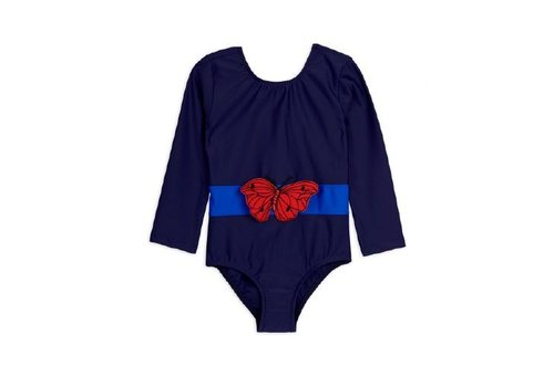 Mini Rodini Butterfly ls swimsuit Navy
