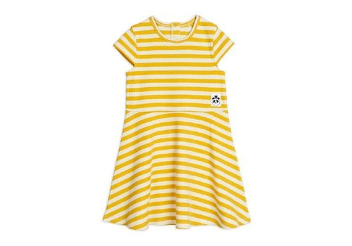 Mini Rodini Stripe rib ss dress Yellow