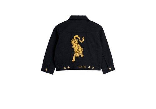 Mini Rodini Denim twill leopard jacket Black