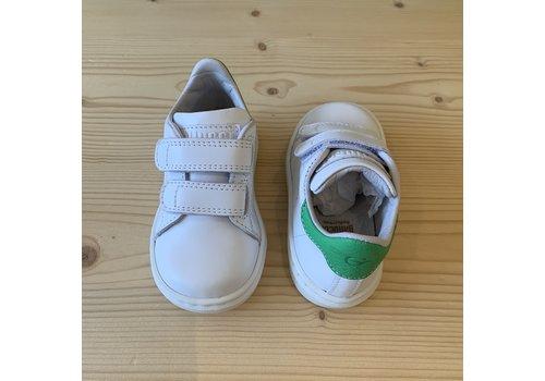Gallucci Witte sneakers met klittenband en groen
