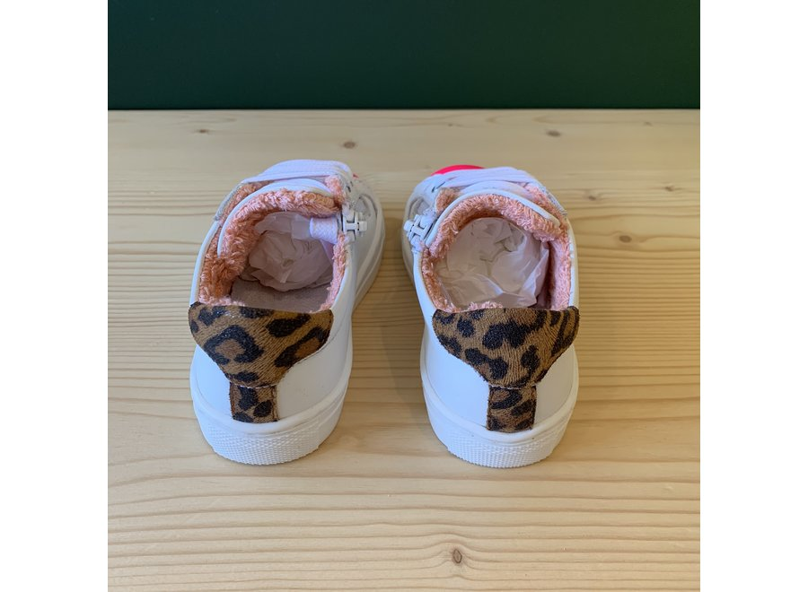 Gallucci White sneakers with neon pink and leopard detail