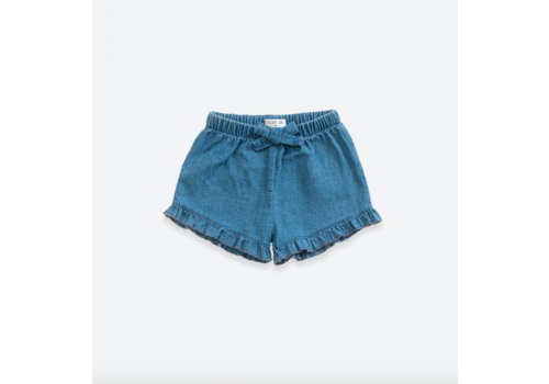 Play up Denim shorts with decorative ribbon | Demim blue